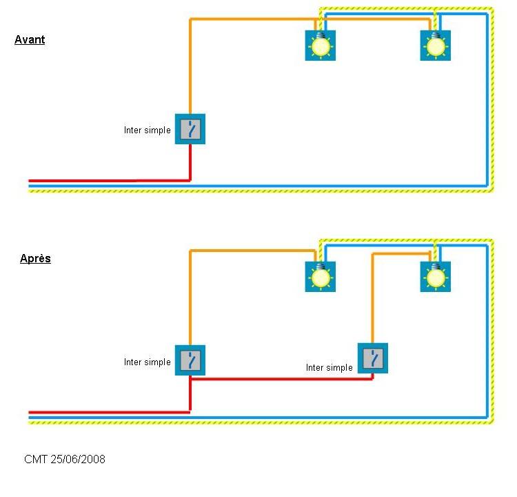 schema installation lectrique branchement phase interrupteur alimenter seconde lampe. Black Bedroom Furniture Sets. Home Design Ideas
