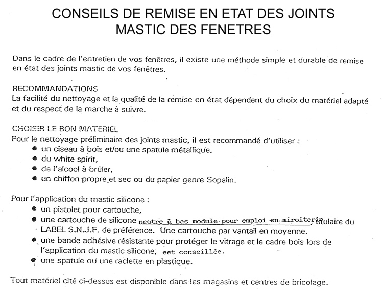 Problèmes joints fenêtres bois interdiction de amiante  ~ Mastic Pour Fenetre Bois